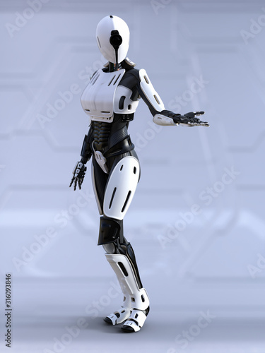 3D rendering of a female android robot posing. Wallpaper Mural