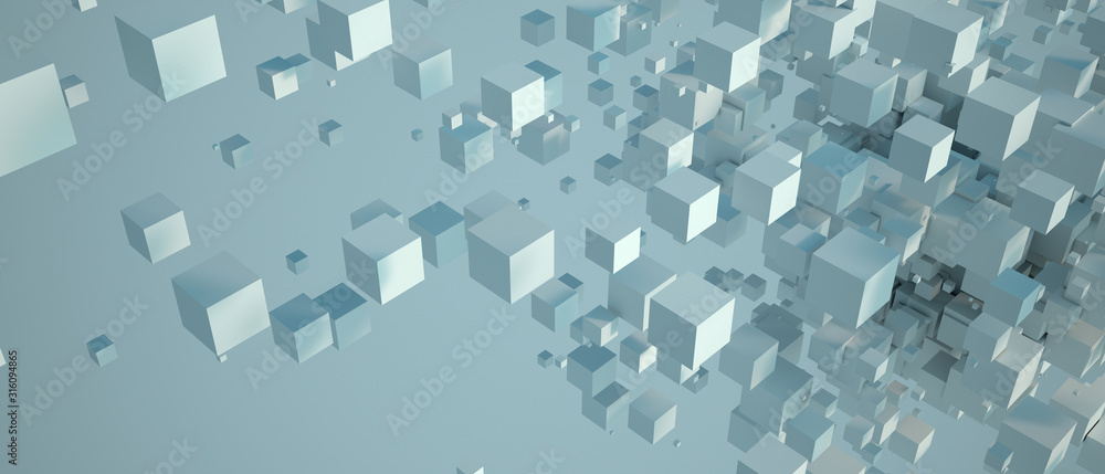 Fototapeta Abstract white cubic background