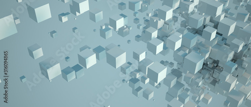 Abstract white cubic background Wallpaper Mural