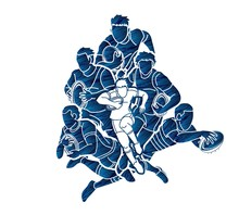 Group Of Rugby Players Action Cartoon Graphic Vector.