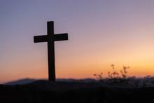 Silhouettes Of Crucifix Symbol...