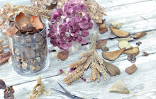Potpourri In A Glass Jar And B...