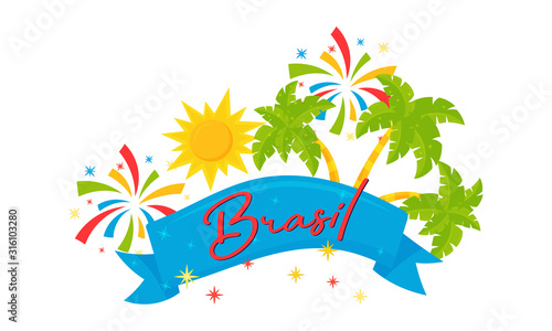 Fényképezés Festive Brazil Ribbon with Palm Leaves and Firework Vector Set