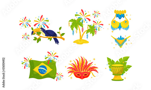 Vászonkép Festive Brazil Attributes and Symbols with Drum and Carnival Mask Vector Set