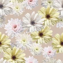 Chrysanthemum Flower Seamless Pattern Vector Illustration