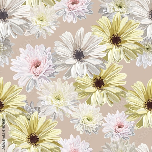 Cuadros en Lienzo chrysanthemum flower seamless pattern vector illustration