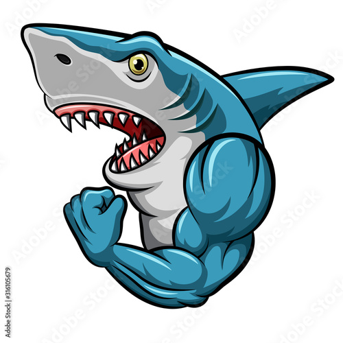 Cartoon strong shark mascot design #316105679