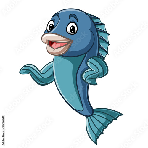 Cartoon fish mascot waving hand #316106053