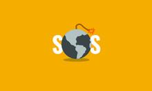 SOS Typography With World Bomb