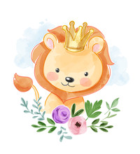 Cute Lion In Golden Crown And ...