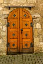 Exquisite Antique Wooden Door At The Wine Cellar Entrance, Tokaj Wine Region, Hungary