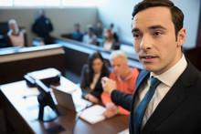 Male Prosecutor Attorney Talki...