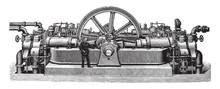 Old Gas Engine / Vintage Illustration From Brockhaus Konversations-Lexikon 1908
