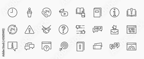 Set of Help And Support Vector Line Icons Canvas Print