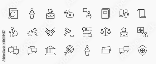 Fotomural Set of Law and justice Vector Line Icons