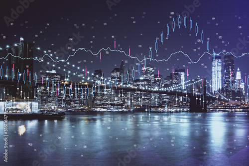 Fototapeta Financial chart on city scape with tall buildings background multi exposure. Analysis concept. obraz