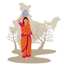 Indian Woman Carrying Water On Head With India Map, Drought Condition Vector