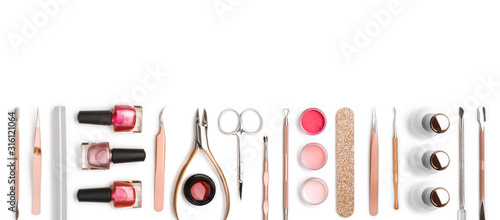 Top view of manicure and pedicure equipment on white background