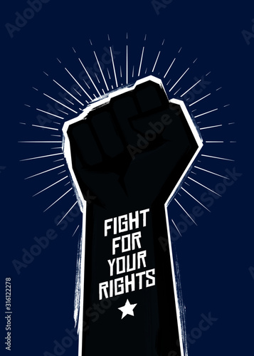 Fight for your rights! Revolution vector poster. Canvas Print