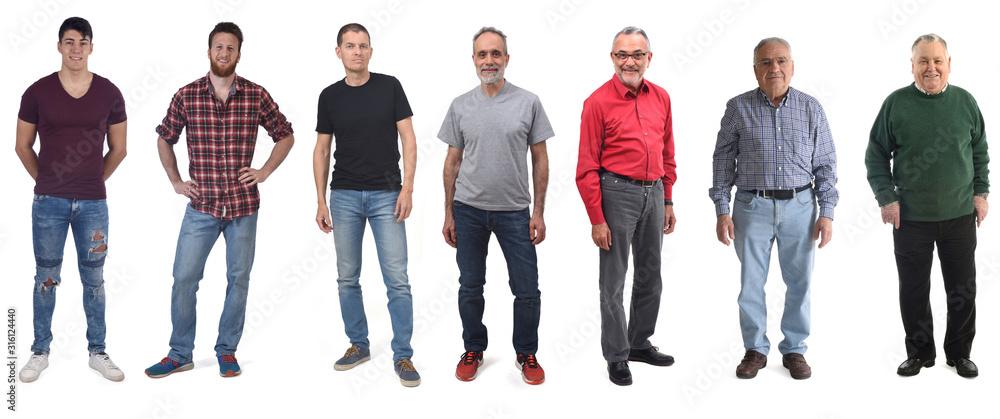 Fototapeta group of men aged twenty to eighty on white background