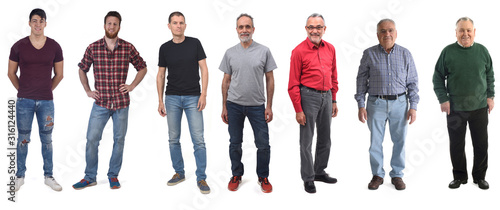 group of men aged twenty to eighty on white background - 316124440
