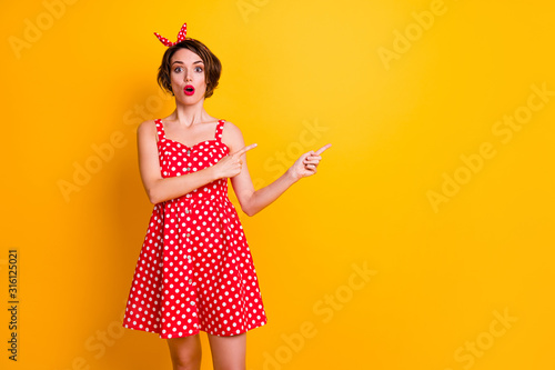 Portrait of astonished crazy girl promoter point index finger copyspace indicate Fototapet