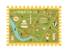 Postal Stamp With Washington C...