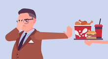 Junk Fast Food Refusal, Man Restricting Himself. Saying No To Cheap, Tempting Calories, Dieting To Lose Weight, Prevent And Treat Diseases, Diabetes Or Obesity. Vector Flat Style Cartoon Illustration