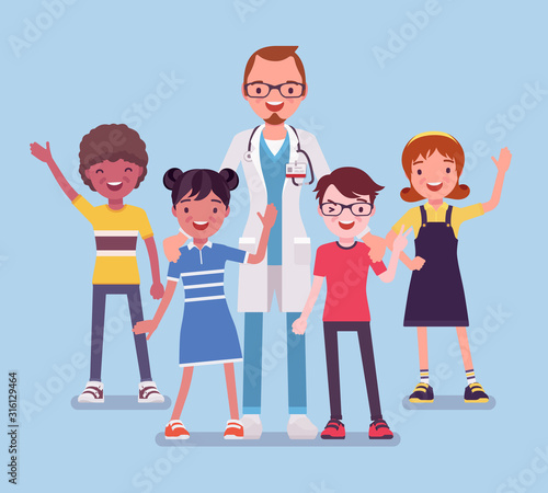 Stampa su Tela Male pediatrician doctor, medical practitioner for children
