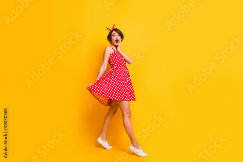 Full size photo of astonished girl walk go see incredible black friday bargain i Wallpaper Mural