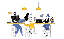 Coworking Space With People Sitting At The Table. Male And Female Freelancers Sitting At Computers. Business Team Working Together At The Big Desk Using Laptops. Colleagues In Office Flat Vector Illus