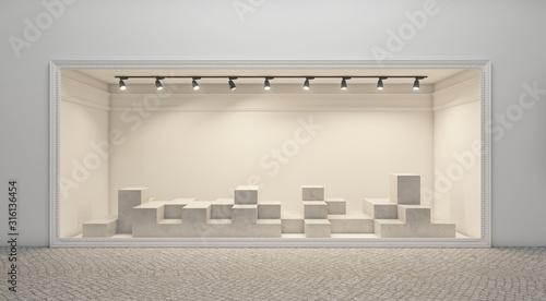 Fotografie, Obraz Shop window display, Empty storefront, Showcase on the street