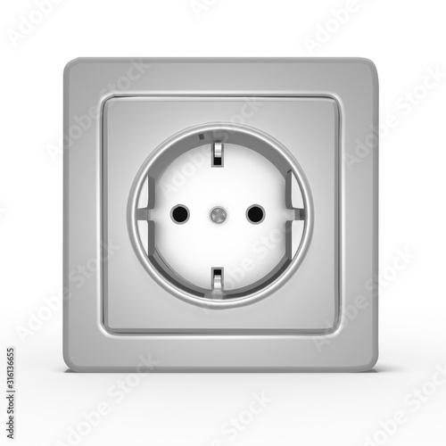 Fényképezés 3d 220V Steckdose an der Wand, Farbe Silbergrau, isoliert