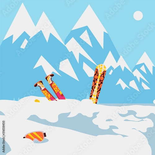 Snowboarder fell in snow, mountain avalanche, extreme winter sport, vector illus Canvas Print