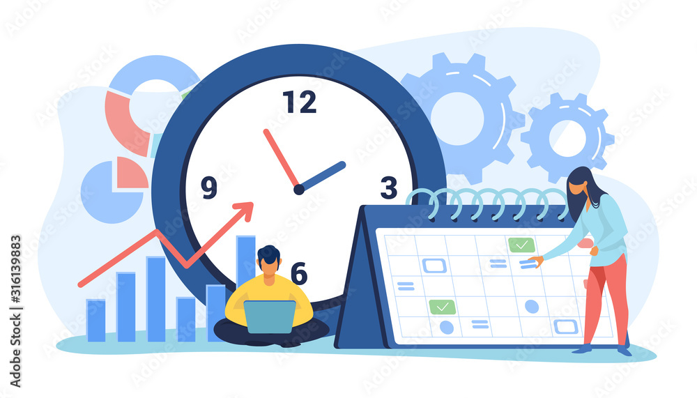 Fototapeta Timing and project scheduling. Managers working near calendar with marks and clock flat vector illustration. Time management, deadline concept for banner, website design or landing web page