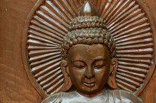 Beautiful In Wood Carved Buddha Figure