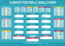 Europe Football 2020 Soccer Competition Matches Program Wall Chart