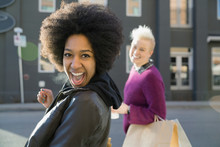 Portrait Of Excited Woman On C...