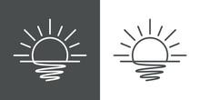 Icono Plano Lineal Sol Naciente Con Reflejo En El Mar En Fondo Gris Y Fondo Blanco