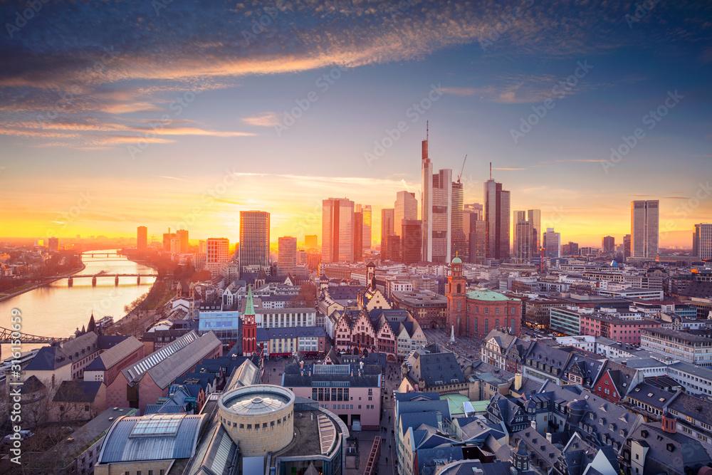 Fototapeta Frankfurt am Main, Germany. Aerial cityscape image of Frankfurt am Main skyline during beautiful sunset.