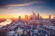 canvas print picture Frankfurt am Main, Germany. Aerial cityscape image of Frankfurt am Main skyline during beautiful sunset.