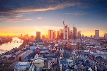Frankfurt am Main, Germany. Aerial cityscape image of Frankfurt am Main skyline during beautiful sunset.