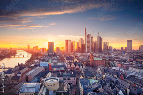 Fototapeta Frankfurt am Main, Germany. Aerial cityscape image of Frankfurt am Main skyline during beautiful sunset. obraz