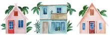 Watercolor Hand Drawn Beach Houses