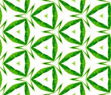 Green Kaleidoscope Seamless Pattern. Hand Drawn Wa
