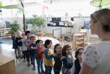 Preschool Students Lining Up F...