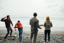 Friends Throwing Rocks On Rugged Beach