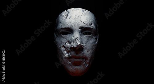 Tela Concept of mistic mask or face. 3d illustration