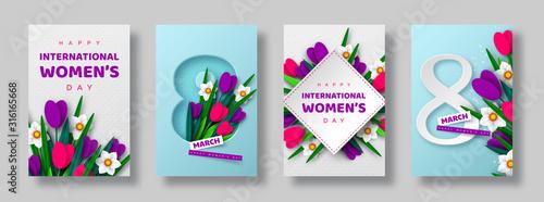 Cuadros en Lienzo 8 March greeting cards for International Womens Day