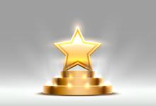 Star Best Podium Award Sign, Golden Object.